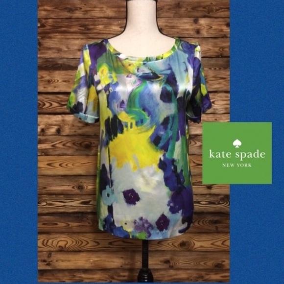 kate spade Tops - Kate Spade Live Colorfully Watercolor Silk Top🎉M